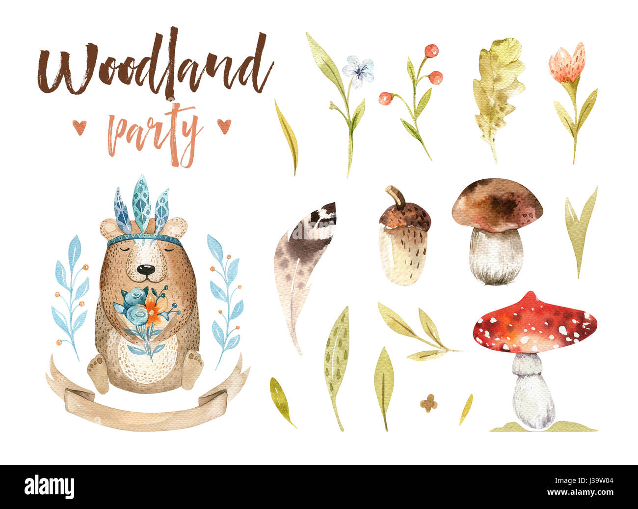 Cute baby bear animal nursery isolated illustration for children. Watercolor boho forest drawing, watercolour, image - Stock Image