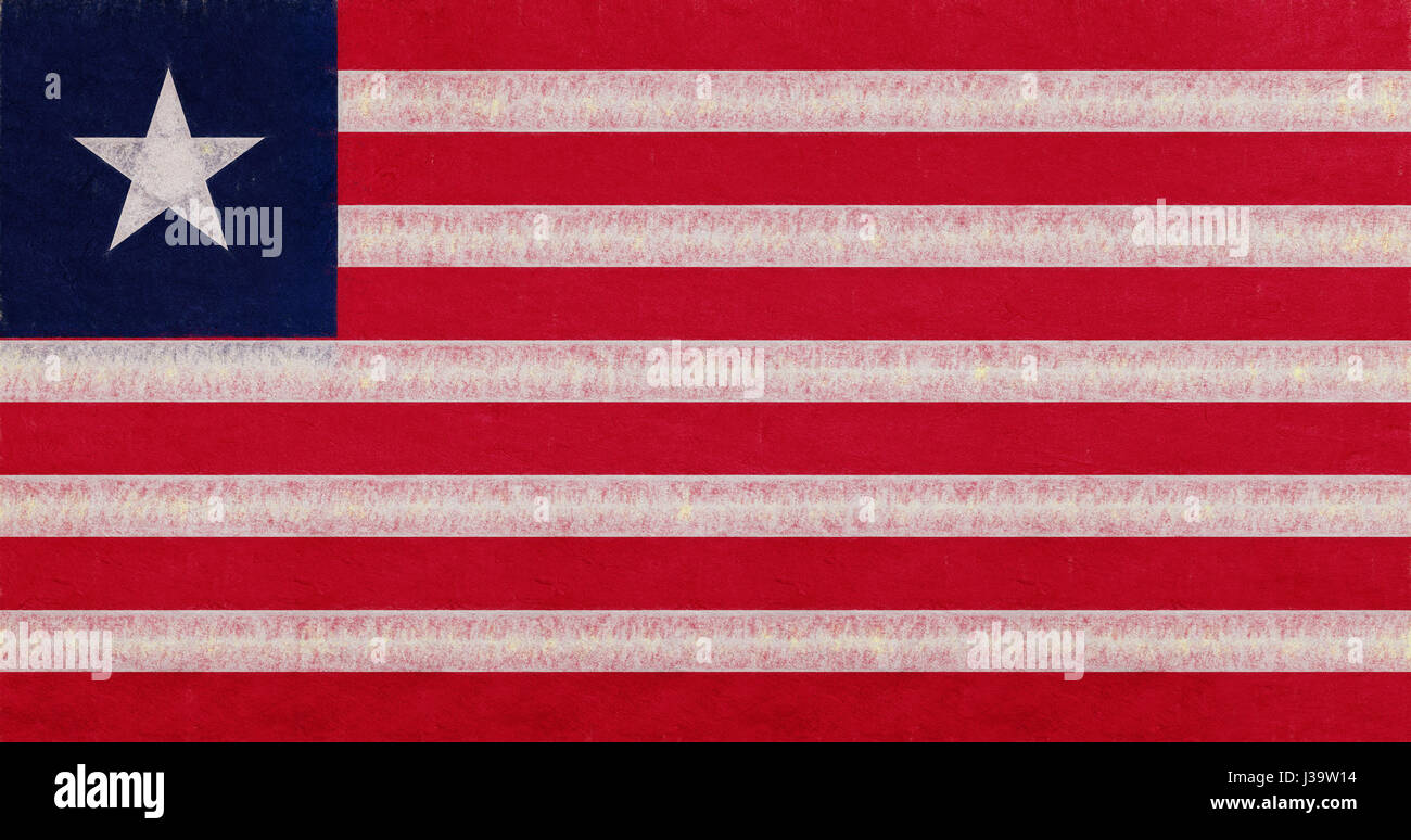 Illustration of the national flag of Liberia with a grunge look. - Stock Image