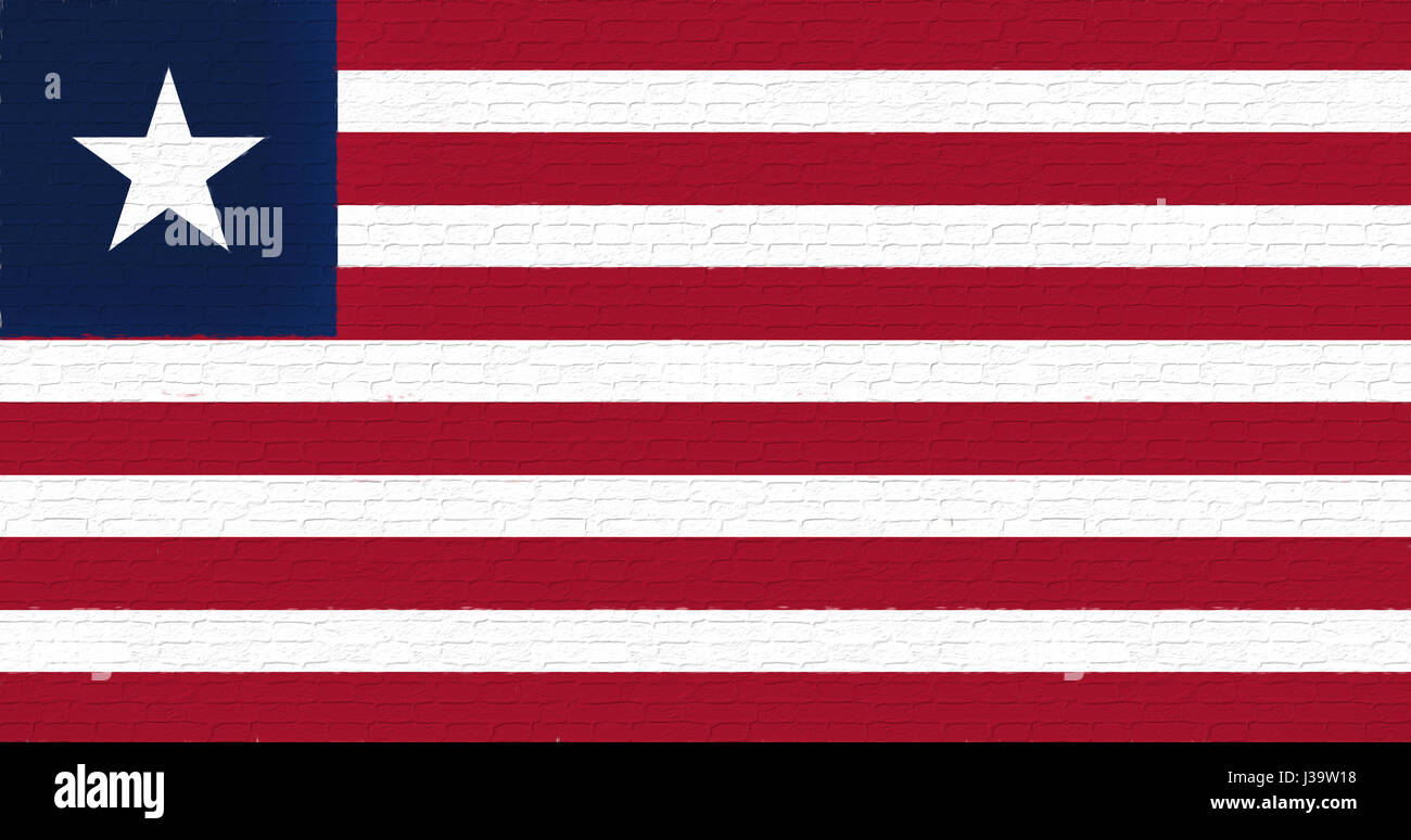 Illustration of the national flag of Liberia looking like it is painted on a wall. - Stock Image