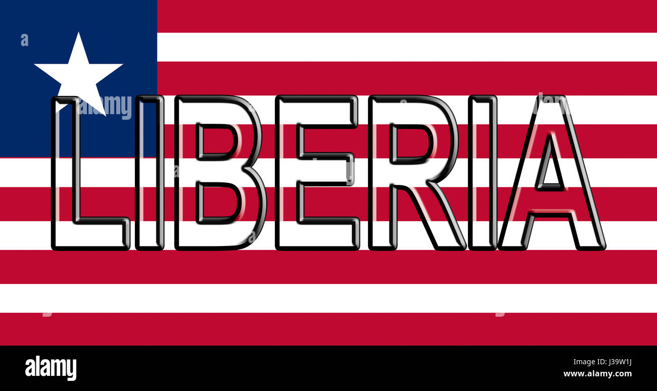 Illustration of the national flag of Liberia  with the country written on the flag. - Stock Image