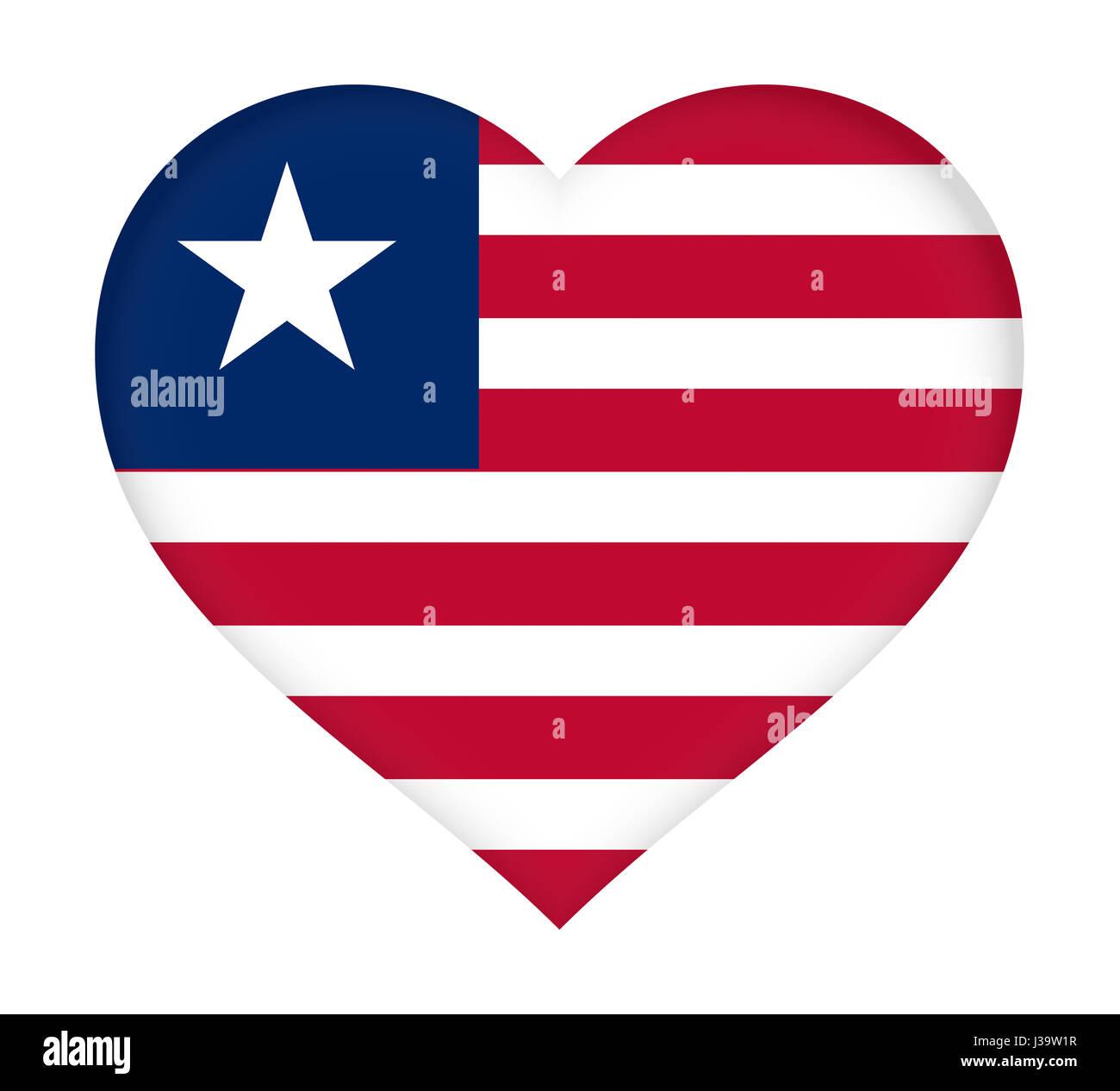 Illustration of the flag of Liberia shaped like a heart. - Stock Image