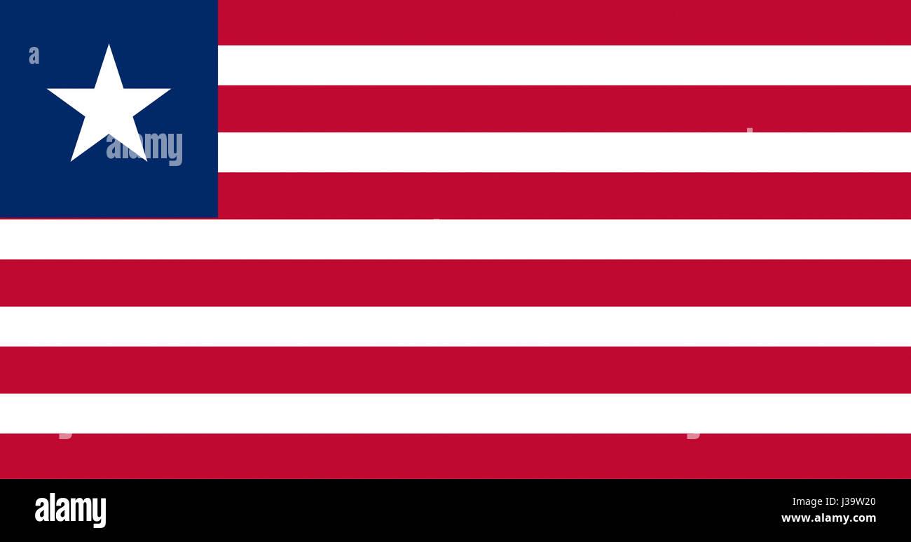 Illustration of the national flag of Liberia - Stock Image