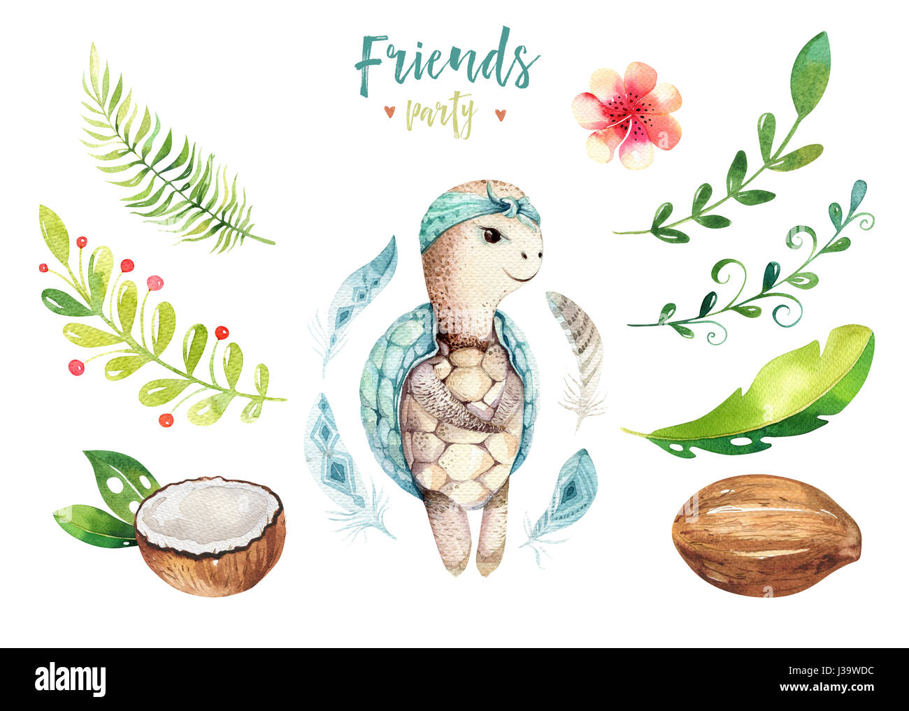 Image of: Coloring Pages Baby Animals Nursery Isolated Illustration For Children Watercolor Boho Tropical Drawing Child Cute Tropic Alamy Tropical Rainforest Animals Cut Out Stock Images Pictures Alamy
