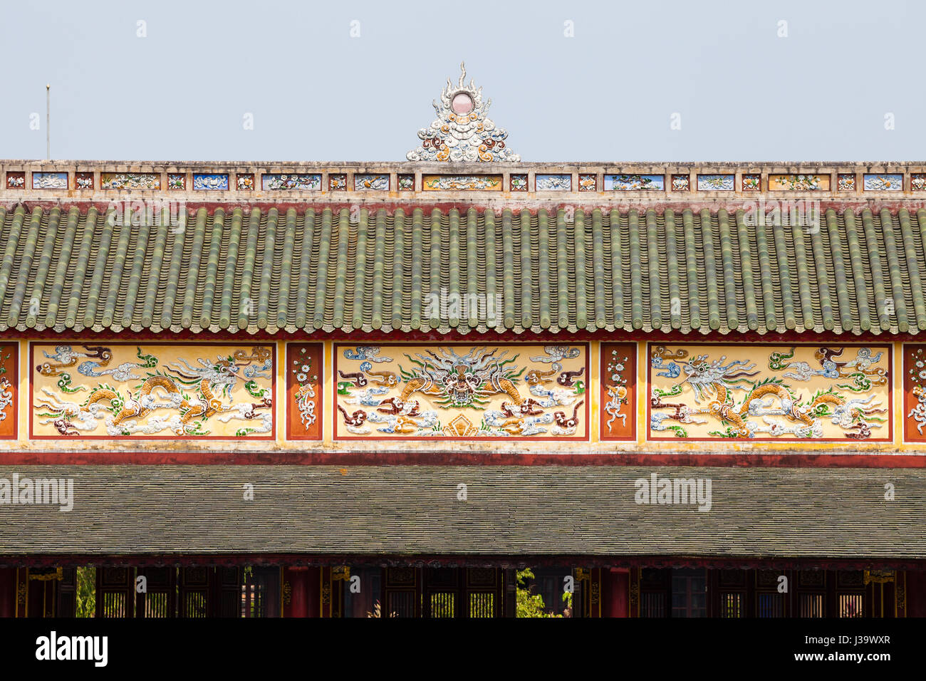 Decorative roof ends, Imperial City (Imperial Citadel), Hue, Vietnam - Stock Image