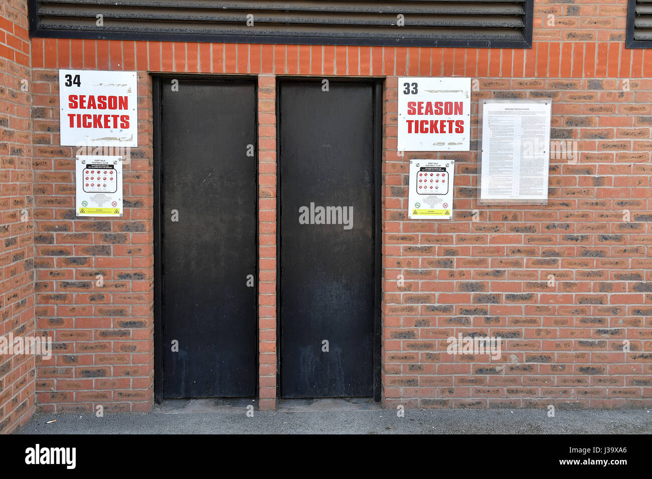A general view of turnstile doors for season ticket holders at Vale Park, Stoke. - Stock Image