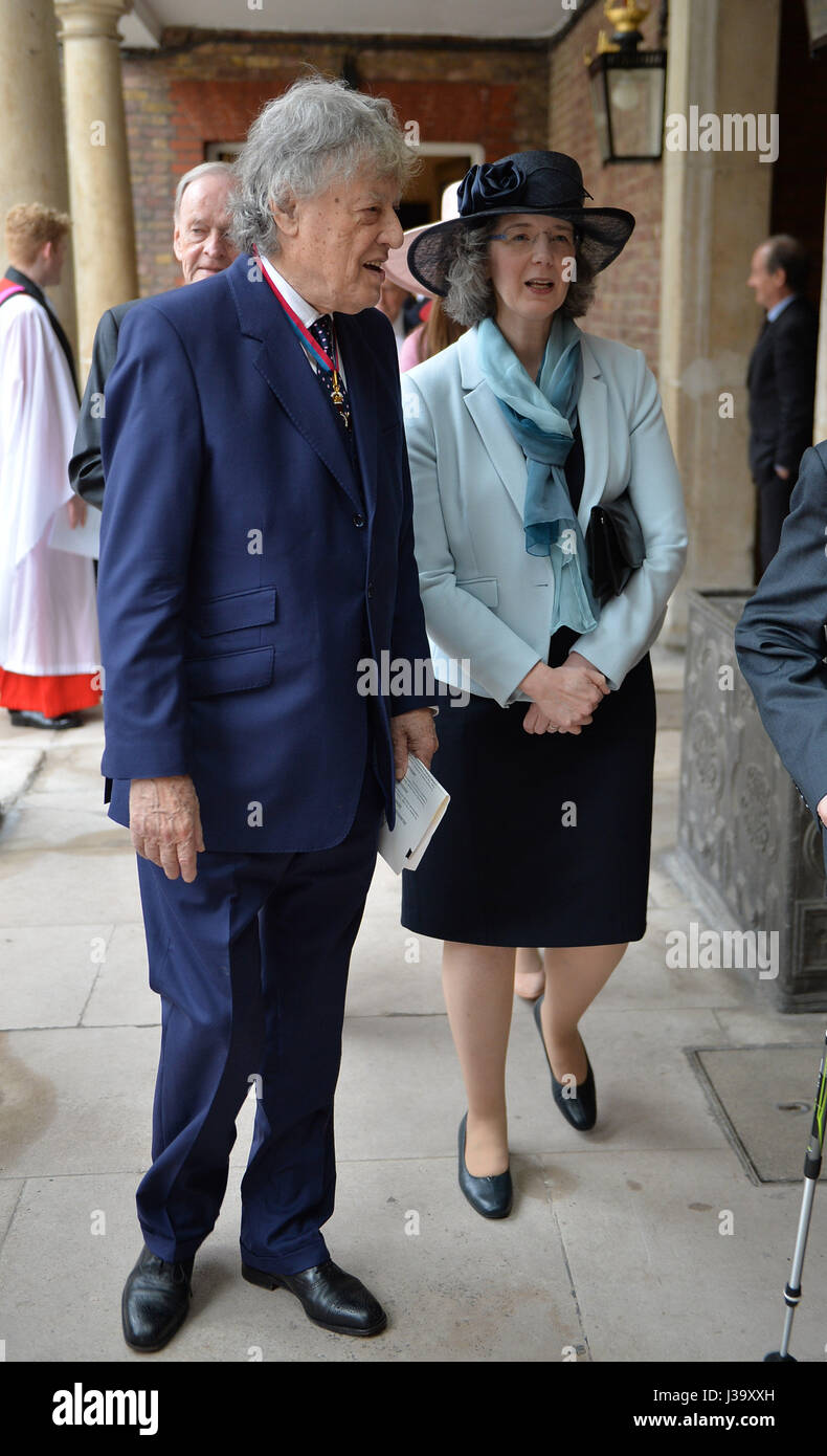 Sir Tom Stoppard arriving at Chapel Royal in St James's Palace, London, for an Order of Merit service. - Stock Image