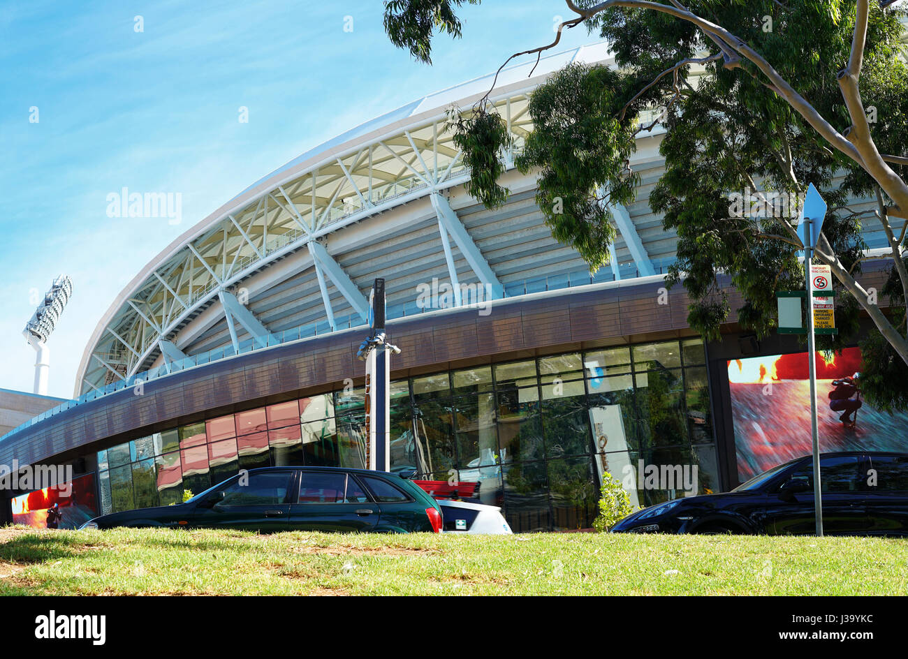 Close up of the Adelaide Oval Stadium, home of the South Australian Cricket Association, situated in the pa - Stock Image