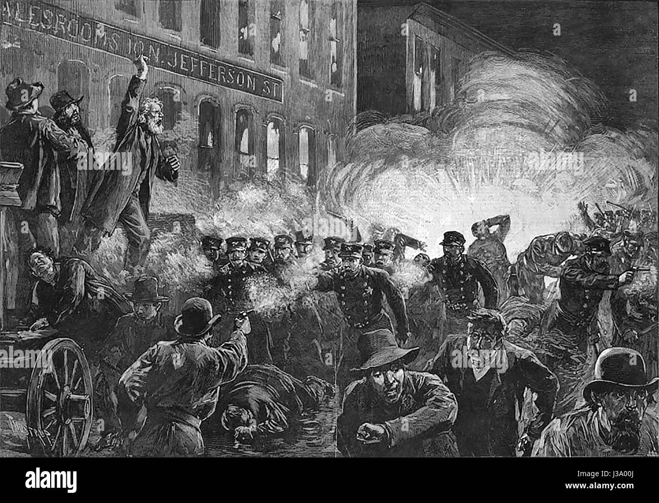 The Haymarket Riot - 15 May 1886. This 1886 engraving was the most widely reproduced image of the Haymarket affair. - Stock Image