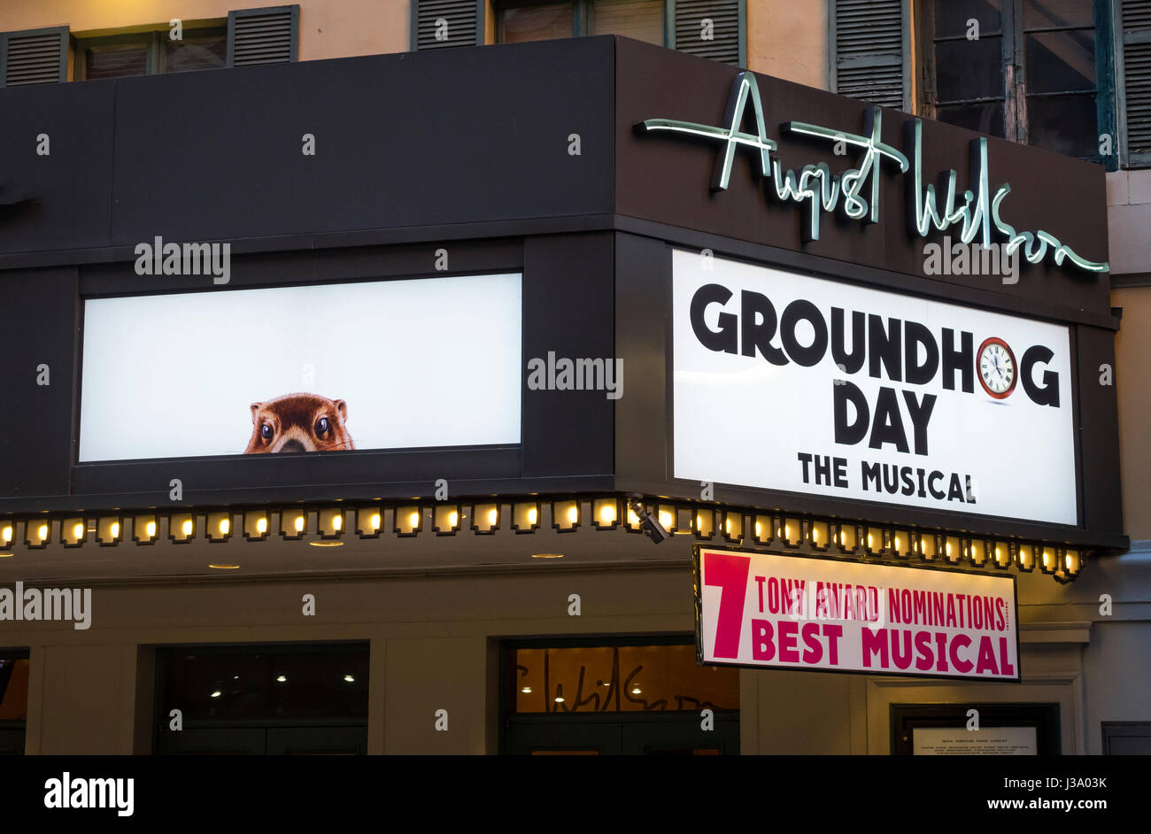 Groundhog Day the Musical at the August Wilson Theatre on Broadway - Stock Image