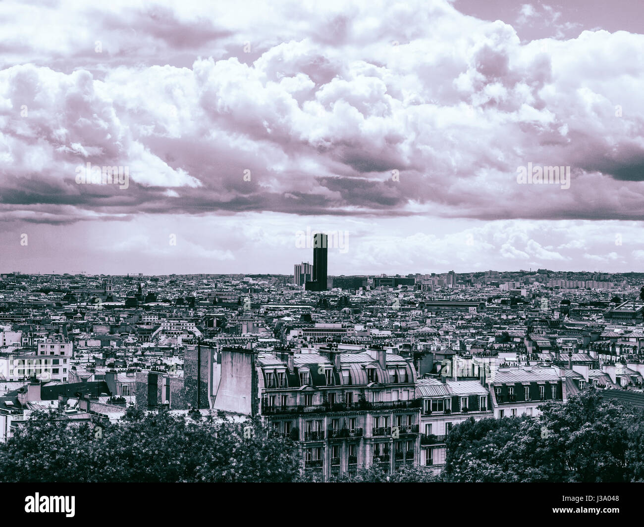 An apocalyptic sky over a city landscape. The end of the world in a nuclear fallout is not that unreal a disaster, Stock Photo