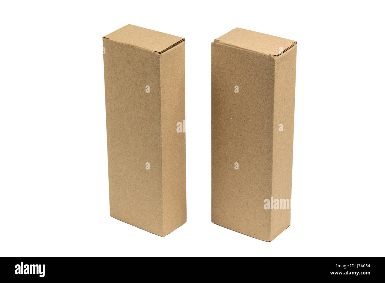 Two Long Rectangle Closed Brown Cardboard Box Packaging Blank Template In Isolated On White Background