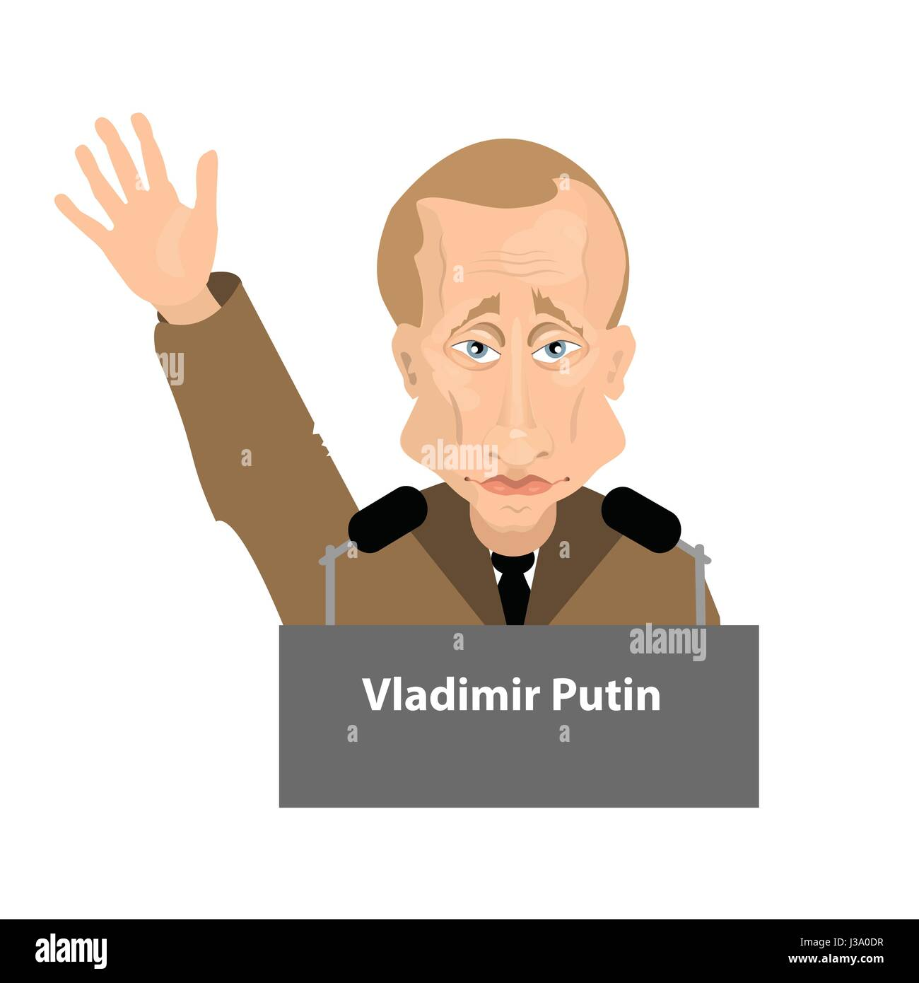 Vladimir Putin is the president of Russia. Illustration for your design. With his hand raised up. Greetings behind - Stock Image