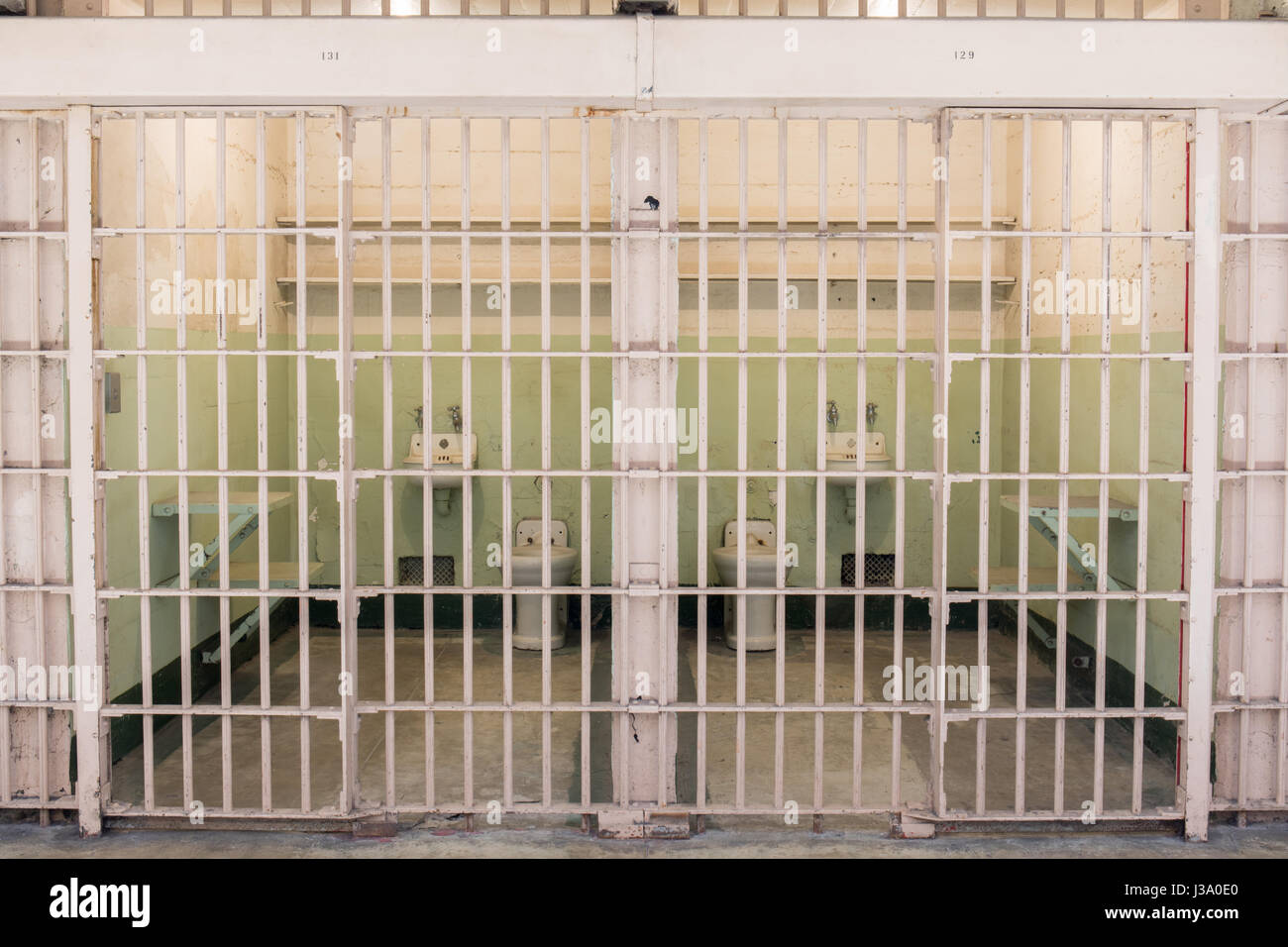 San Francisco, California, United States - April 30, 2017: Adjacent cells of Alcatraz prison. - Stock Image