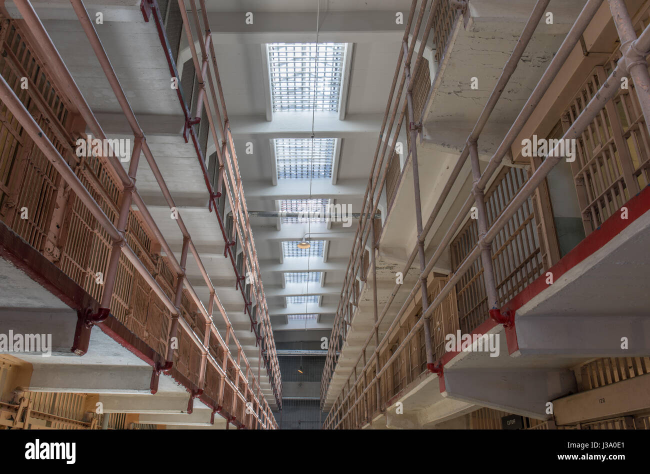 San Francisco, California, United States - April 30, 2017: Cell Block of Alcatraz Prison. - Stock Image