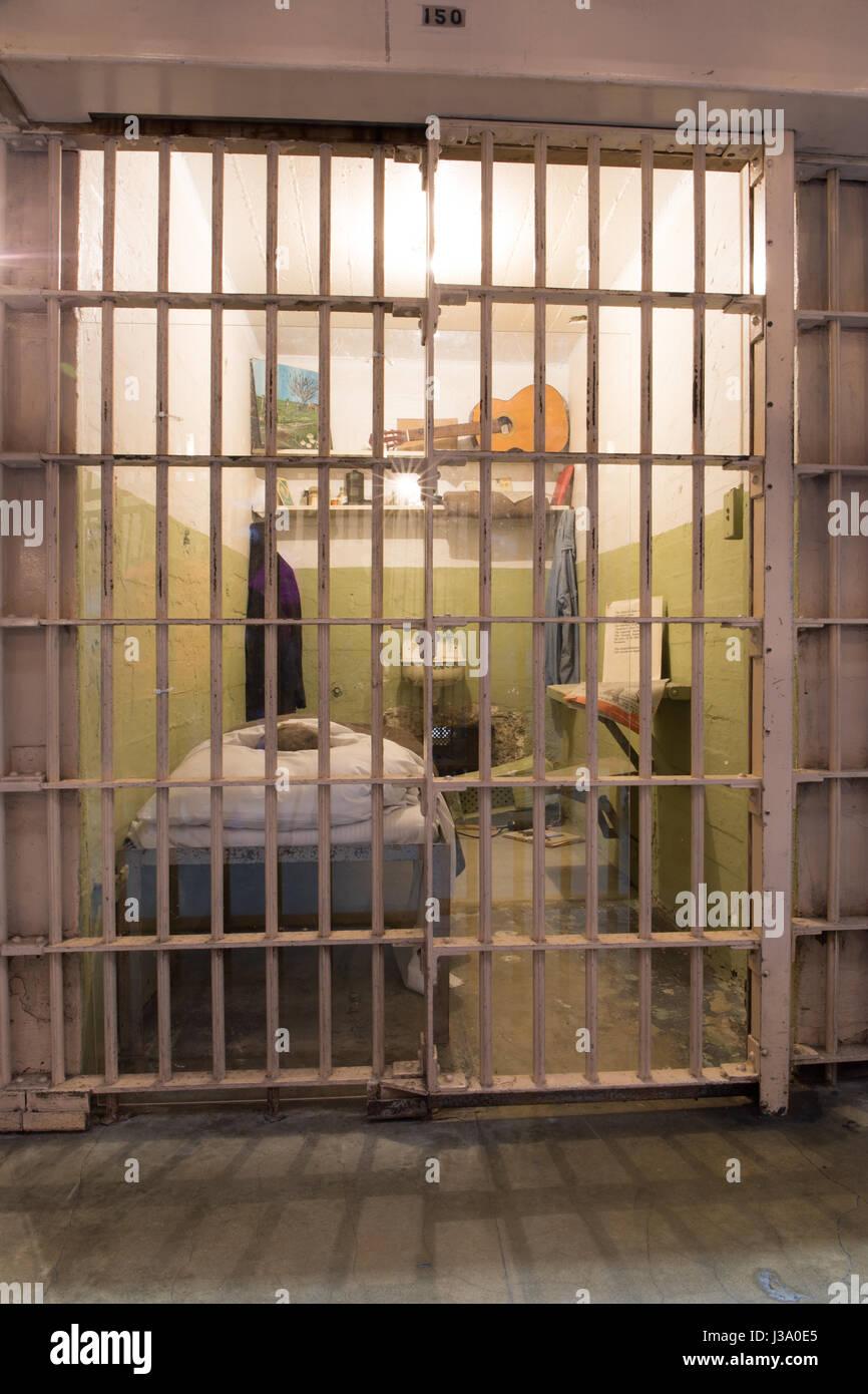San Francisco, California, United States - April 30, 2017: Prisoner's cell of Alcatraz prison in Alcatraz Island. - Stock Image