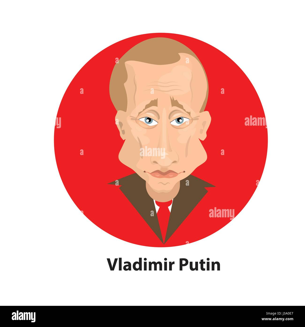 Vladimir Putin is the president of Russia. Illustration for your design. bust. On the red circle - Stock Image