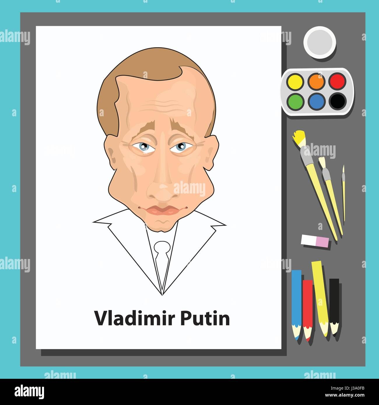 Vladimir Putin is the president of Russia. Illustration for your design. Drawing on paper with paints and brushes. - Stock Image