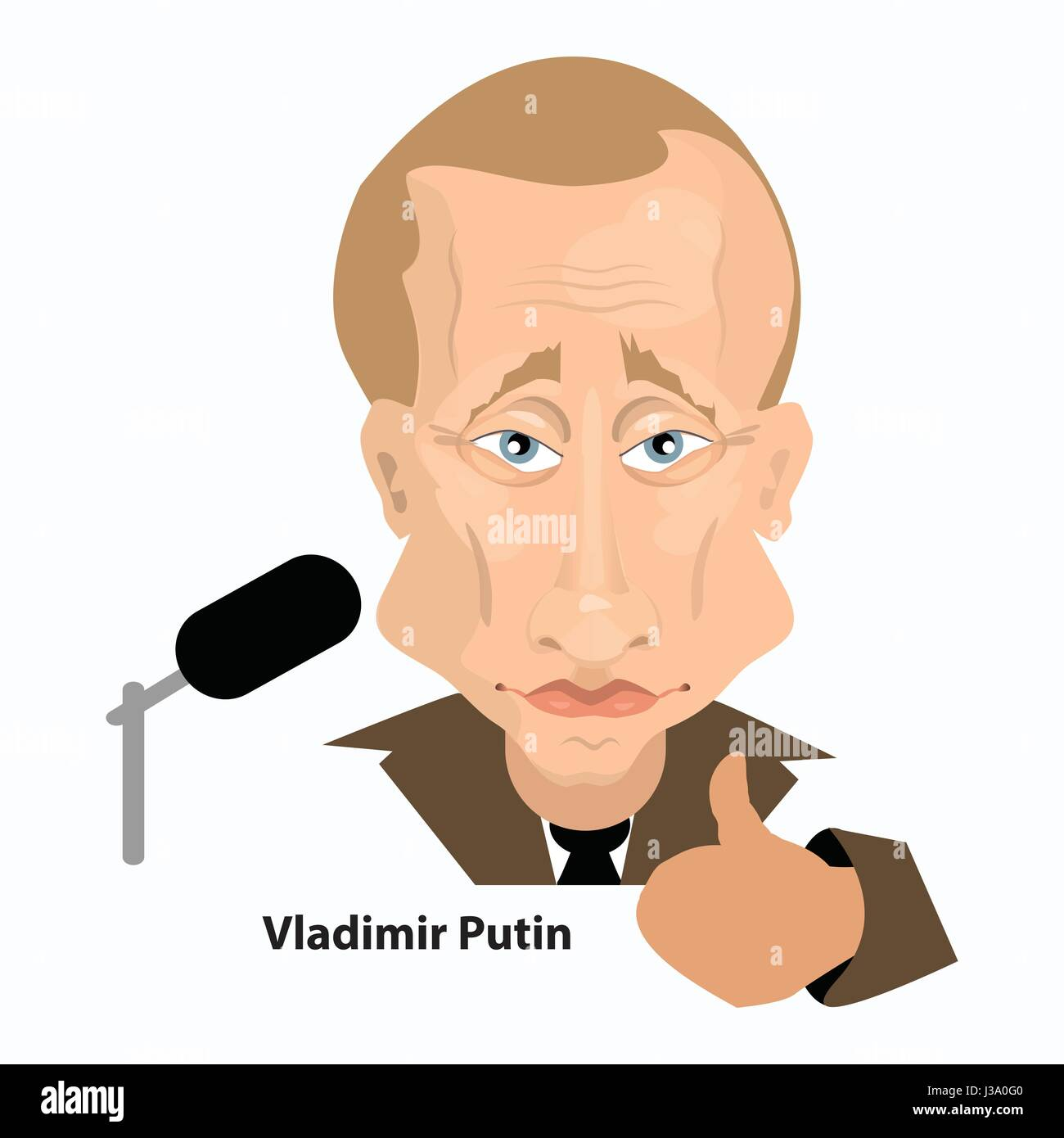 Vladimir Putin is the president of Russia. Illustration for your design. Finger lifted up and microphone - Stock Image