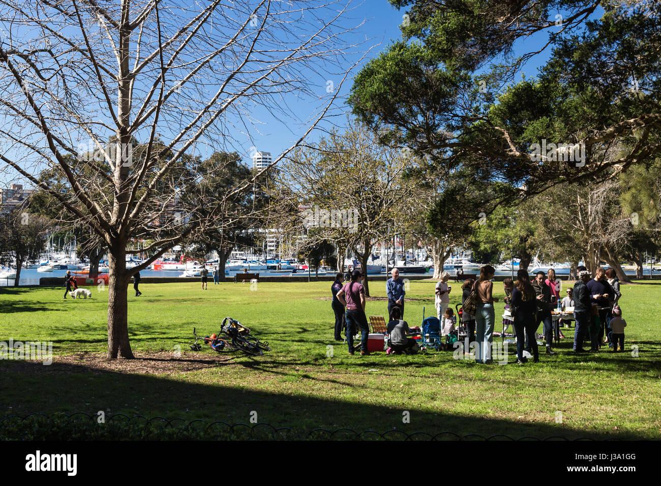 People enjoying Rushcutters Bay, Sydney. Stock Photo
