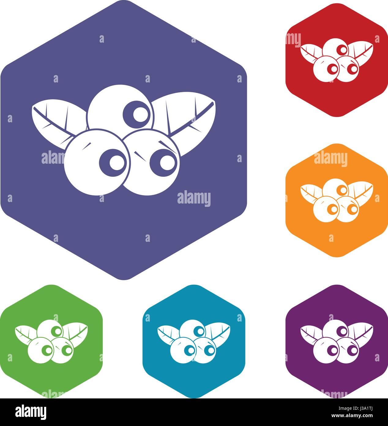 Blueberries icons set hexagon - Stock Vector