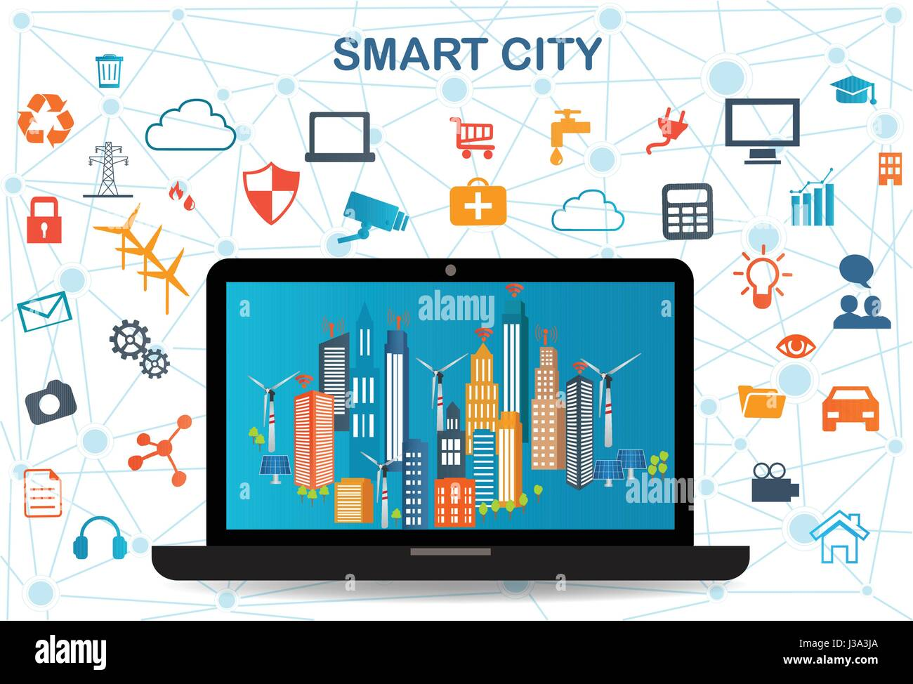 Smart city on laptop with different icon and elements and environmental care.Modern city design with  future technology - Stock Image