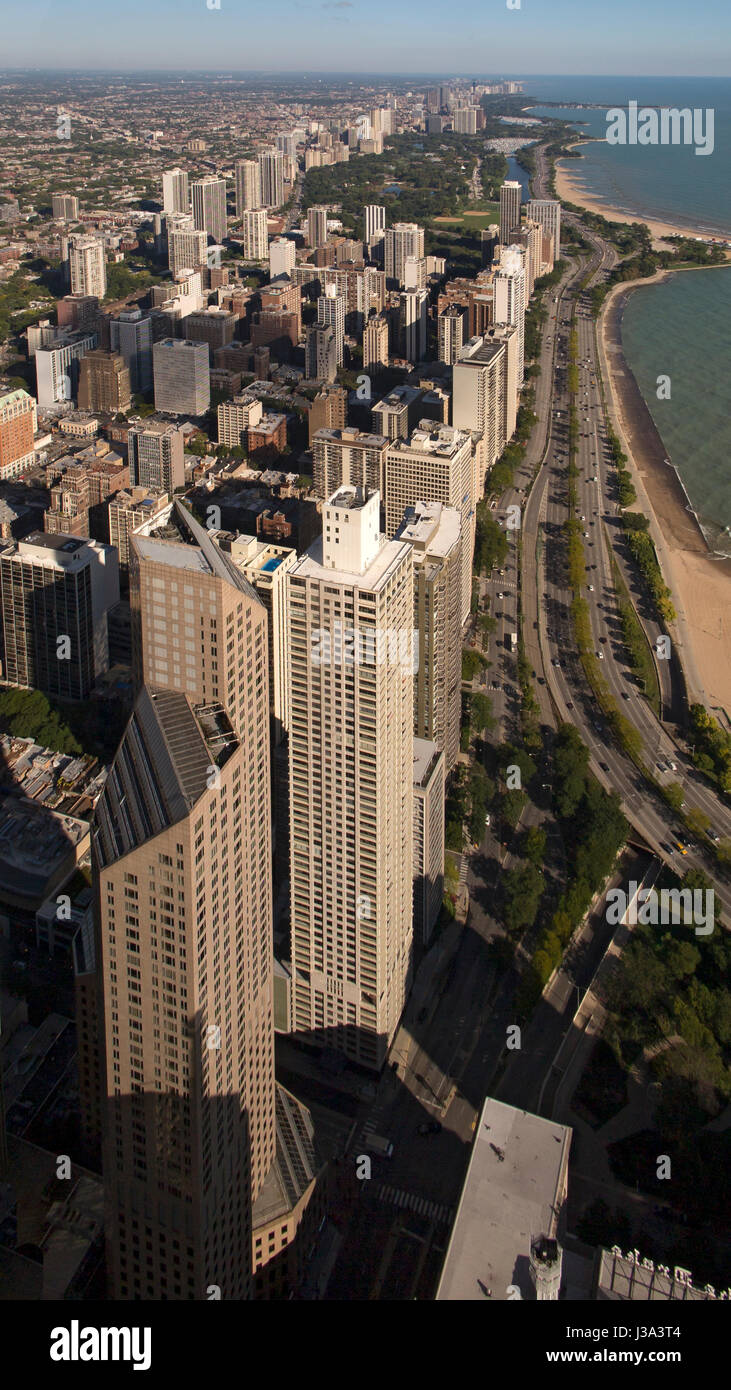Aerial view of Chicago from Hancock Building viewing terrace USA - Stock Image
