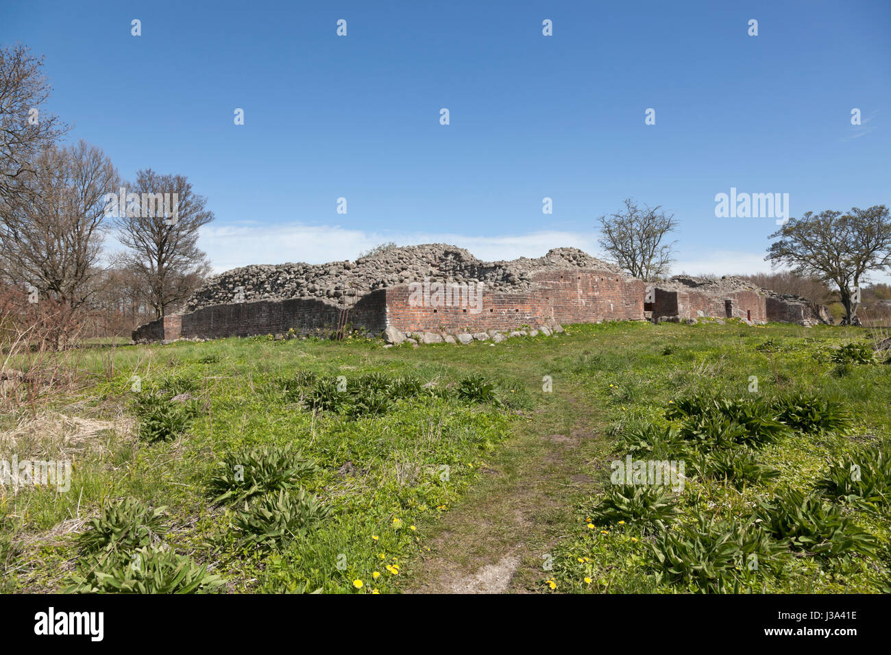The Gurre Castle Ruin, a Royal castle from the 12th century in North Zealand near Elsinore, Helsingør, in Denmark - Stock Image