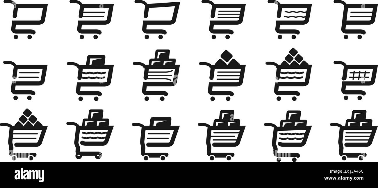 Shopping cart, set icons. Supermarket, grocery store, pushcart symbol or logo. Vector illustration - Stock Vector
