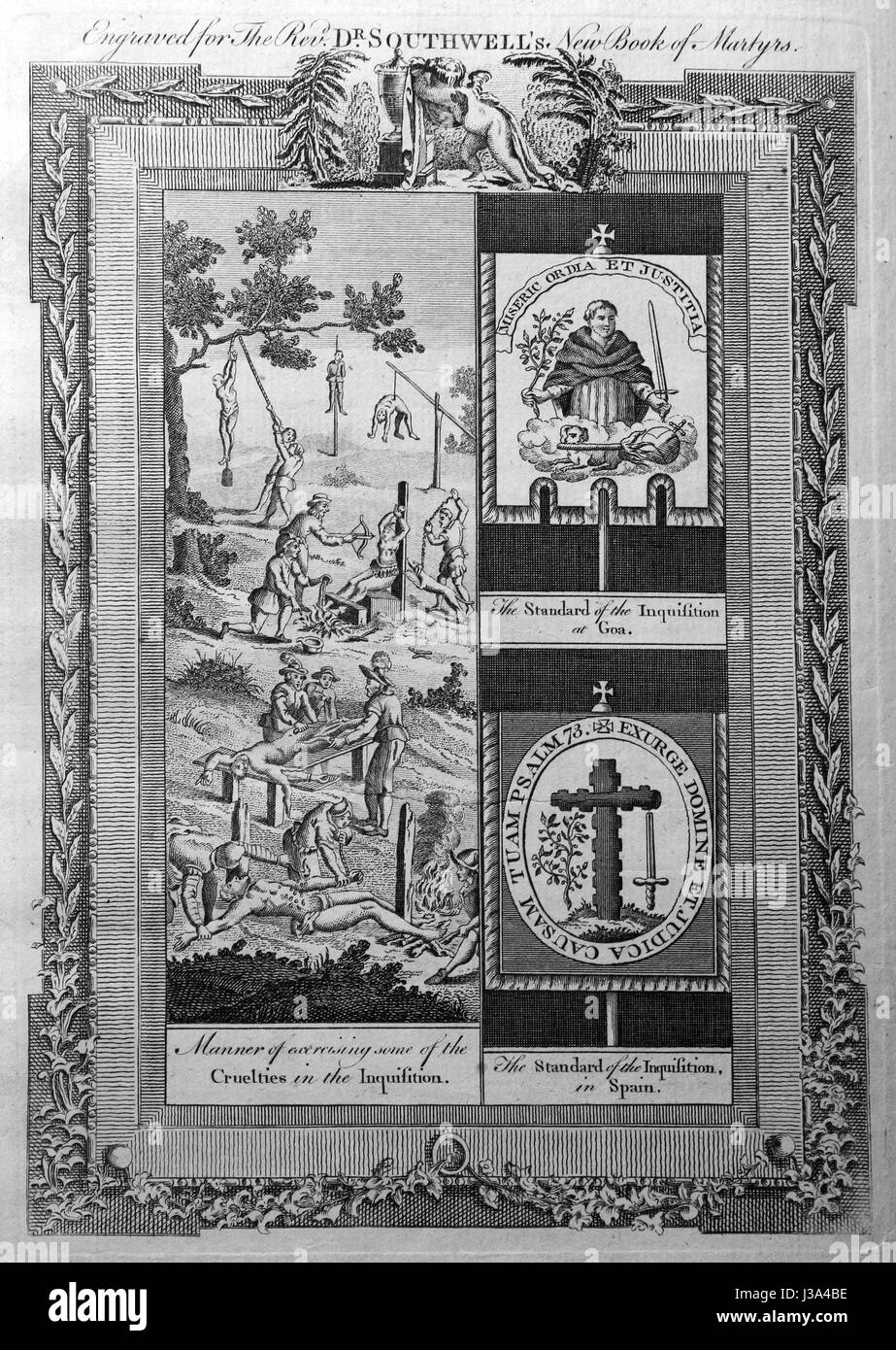 Engraving from c 1780 edition of The New Book of Martyrs by Rev Dr Henry Southwell LLD. Manner of expressing some - Stock Image
