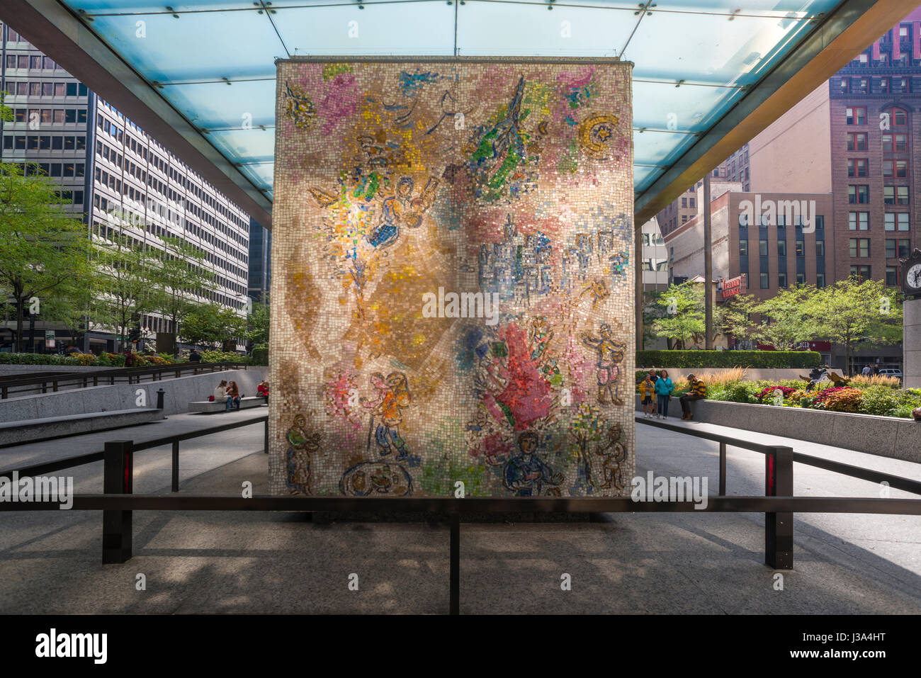 Chagall Fours Seasons mosaic Chase Plaza Chicago  USA - Stock Image