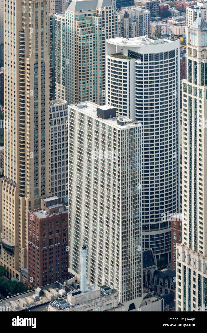 Aerial view of downtown Skyscrapers Chicago USA - Stock Image