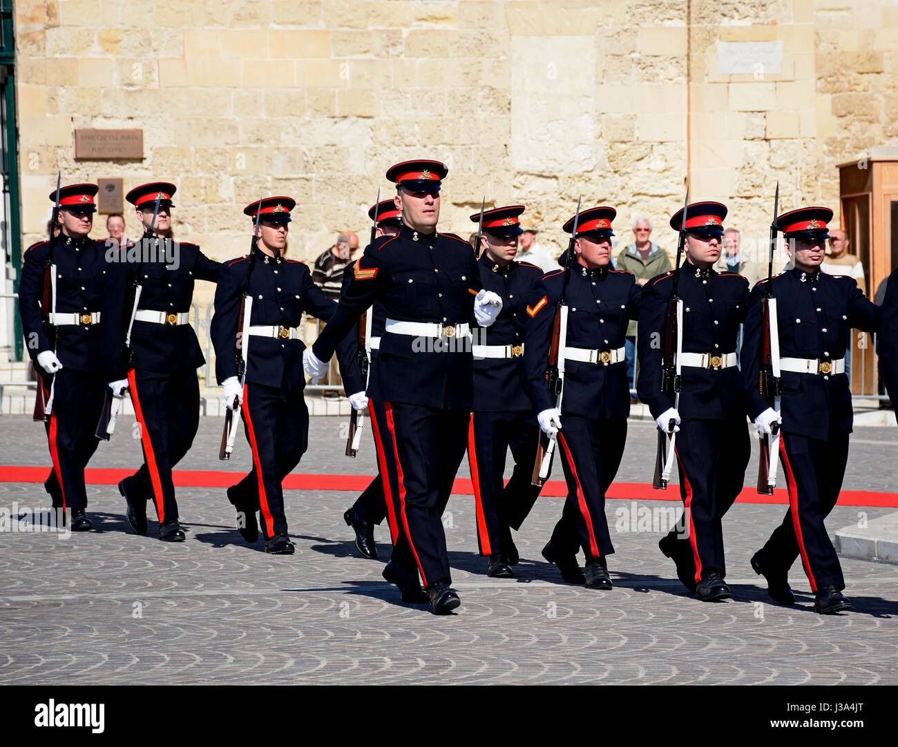 Military parade after the arrival of political dignitaries for the EPP European Peoples party congress outside the Stock Photo