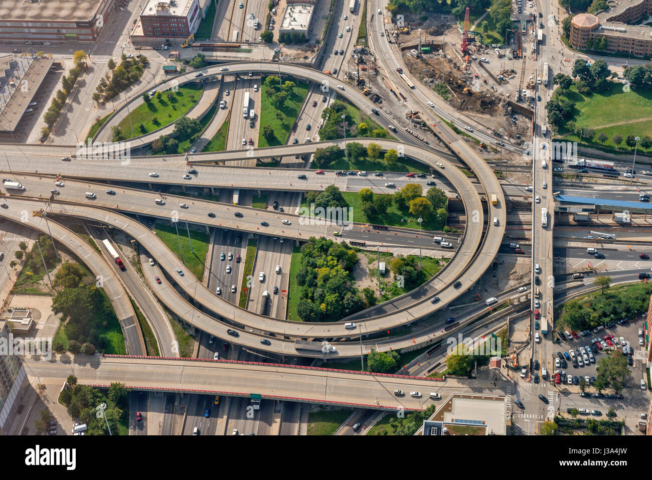 Aerial view of highway crossection Chicago USA - Stock Image