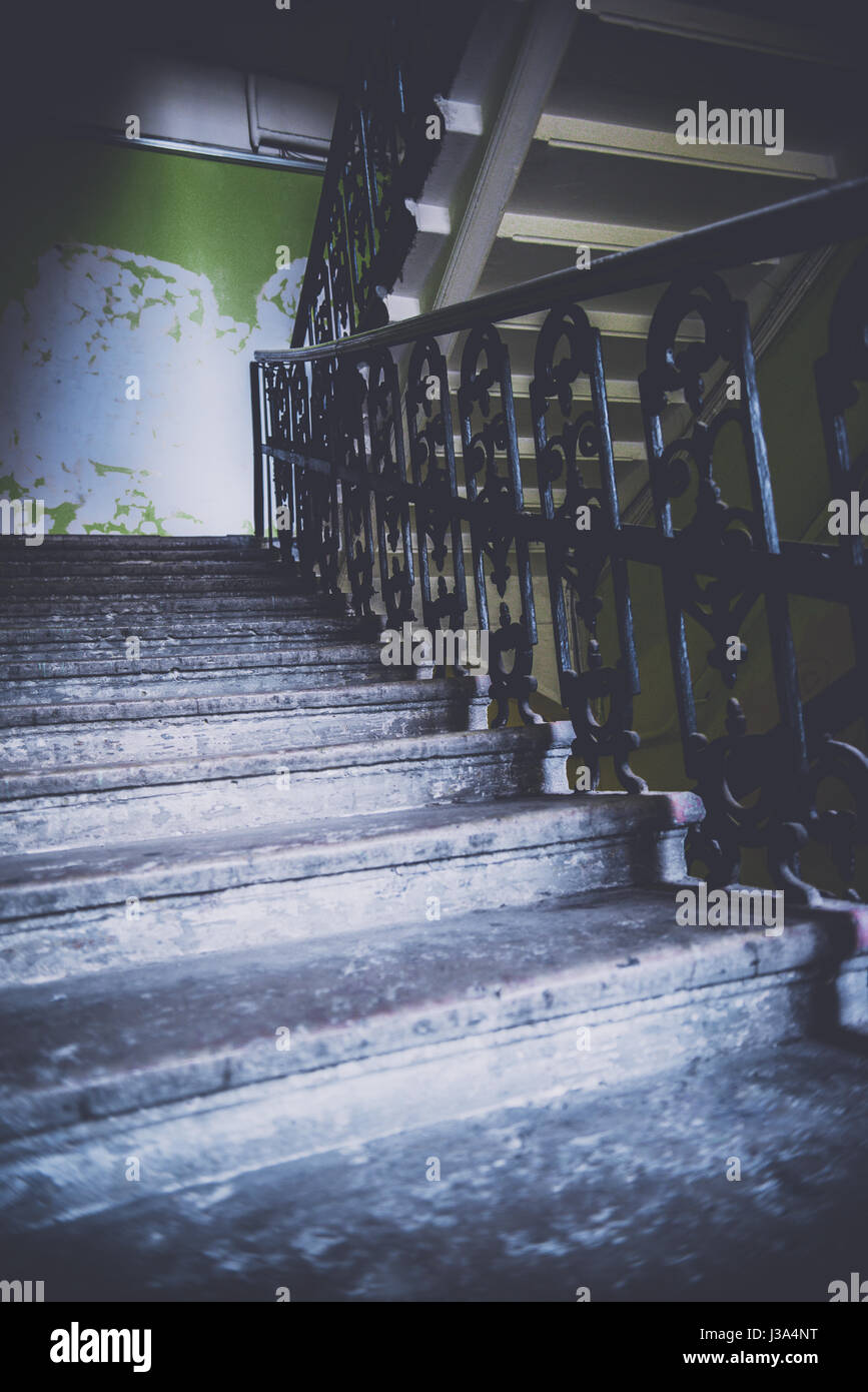 View up old deserted flight of stairs - Stock Image