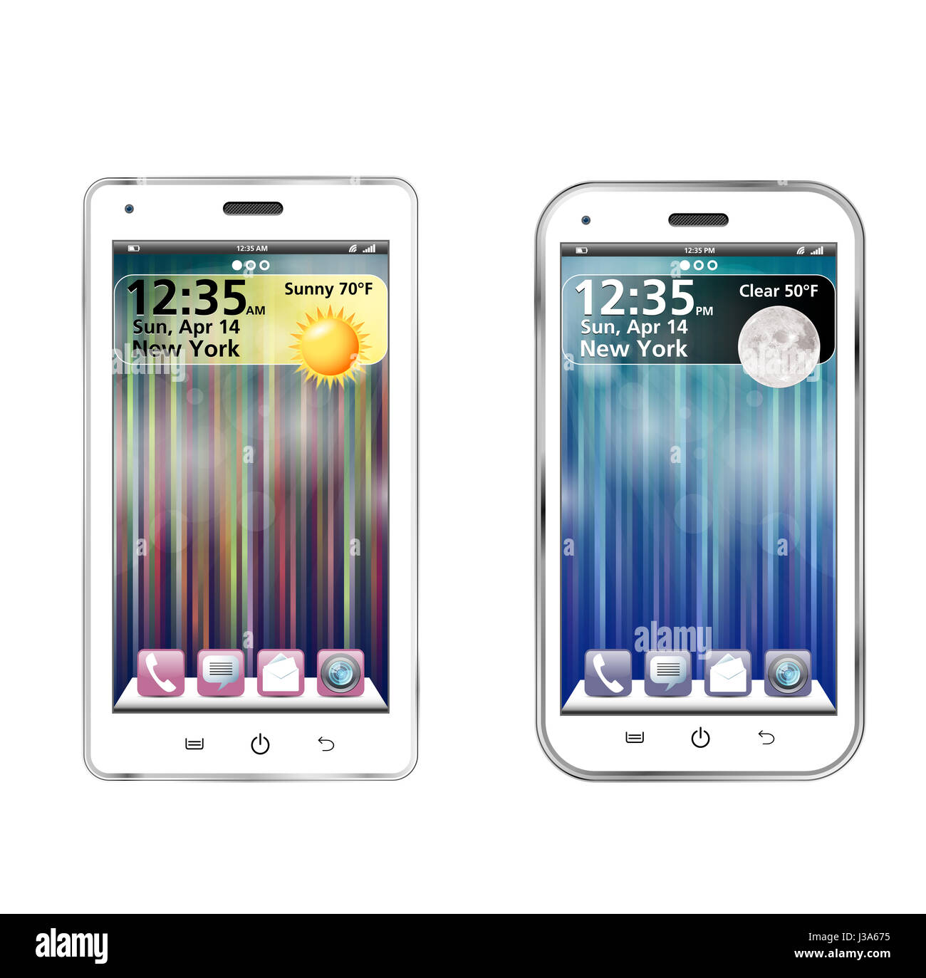 Two white realistic smartphone with colorful screens - Stock Image