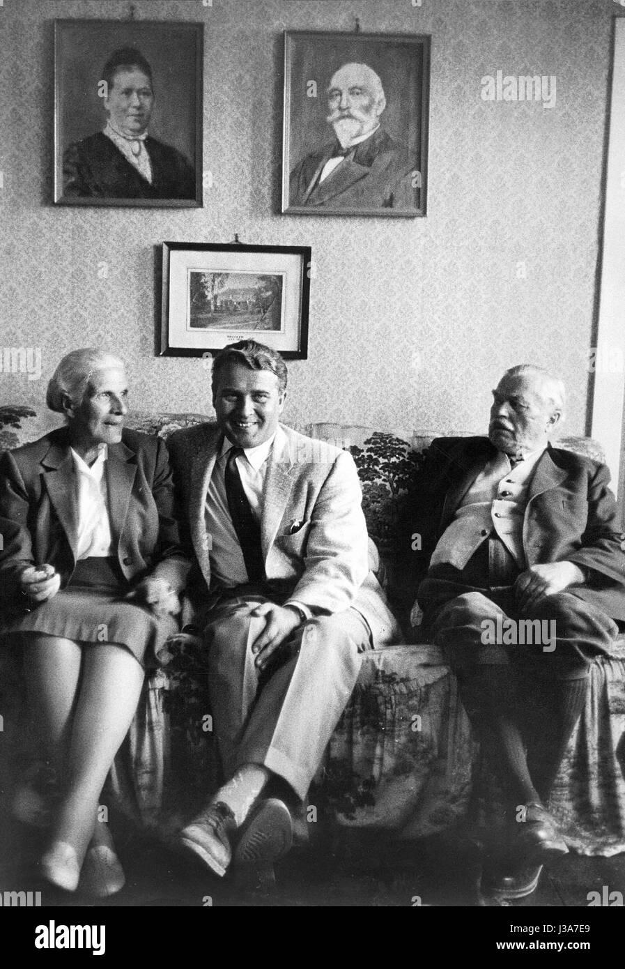 Wernher Von Braun With His Parents 1958 Stock Photo