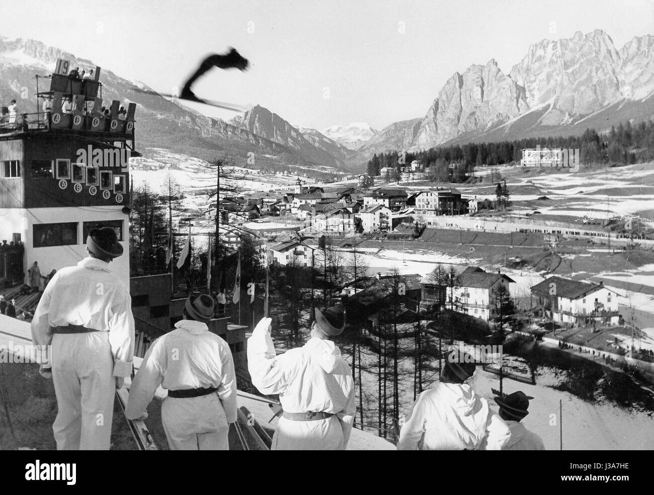 Ski jumping at the Winter Games in Cortina, 1956 - Stock Image