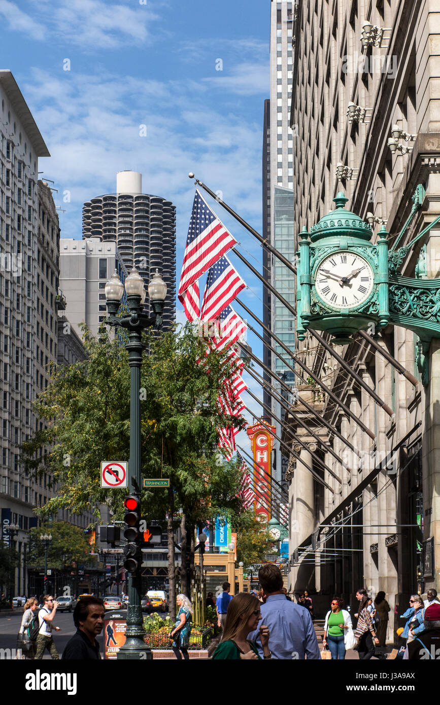Scenic view of  Michigan Street Avenues Chicago USA - Stock Image