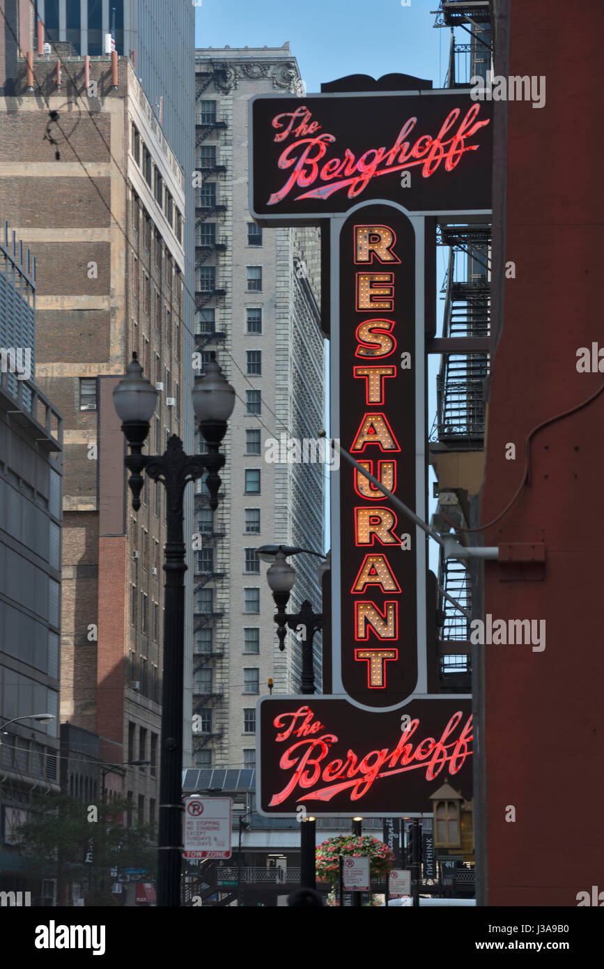 Chicago downtown restaurant USA - Stock Image