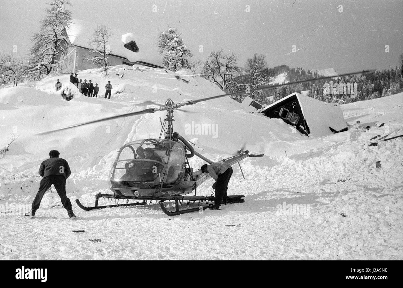 A rescue helicopter on a makeshift landing pad at Blons, 1954 - Stock Image