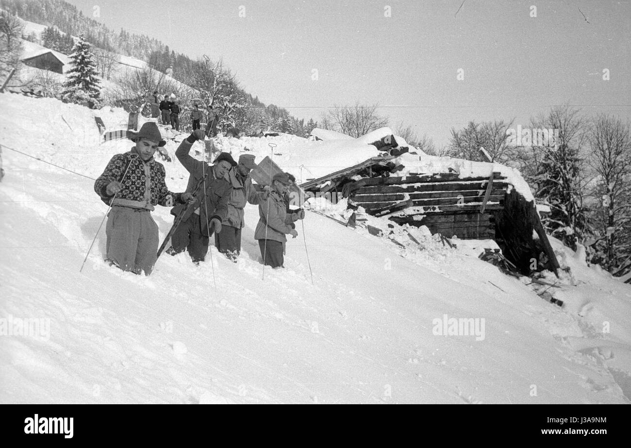 A rescue team with probes searching for survivors of the avalanche disaster in Blons, 1954 - Stock Image