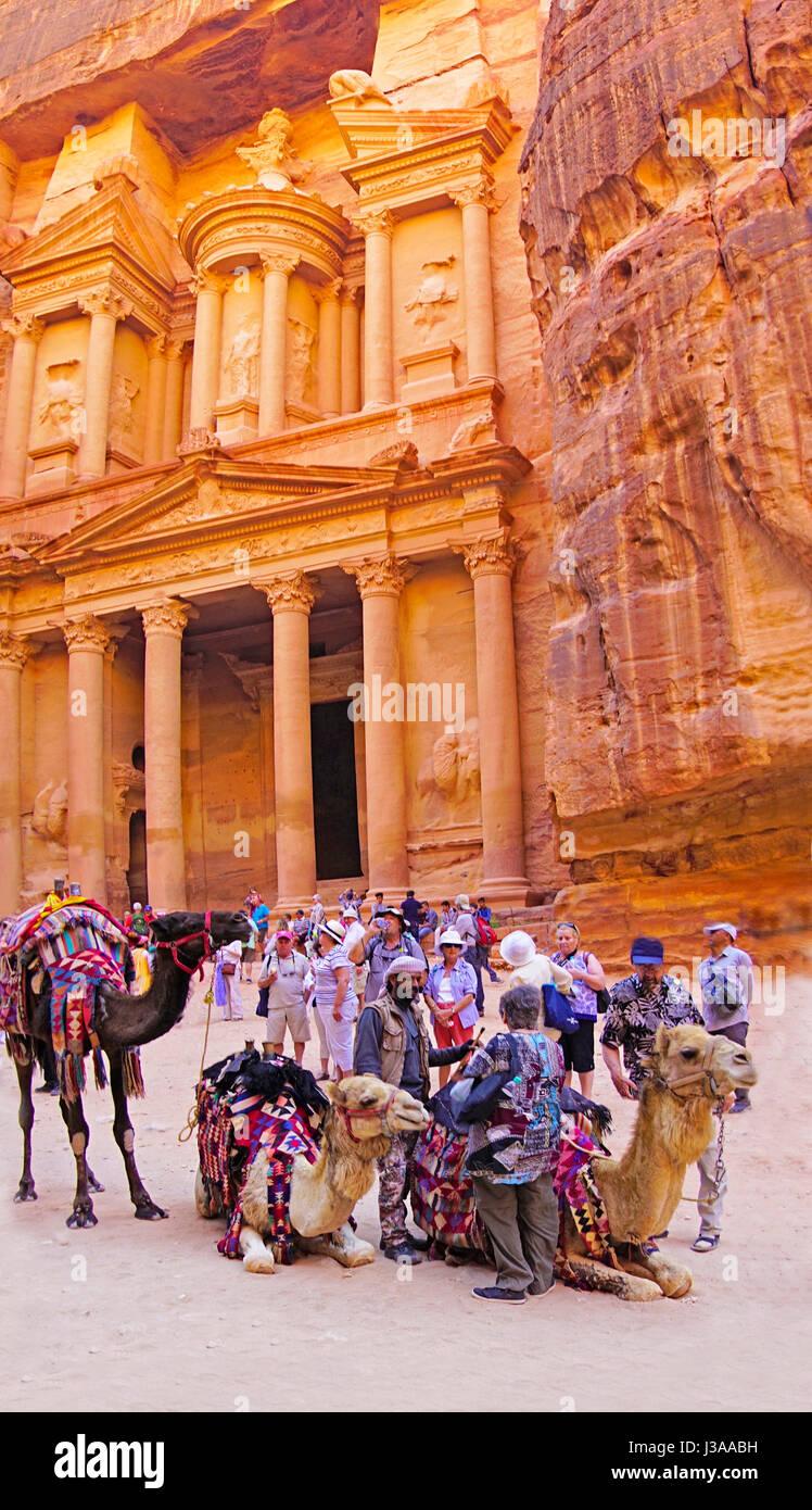 Camel rides at The Treasury at Petra - Stock Image