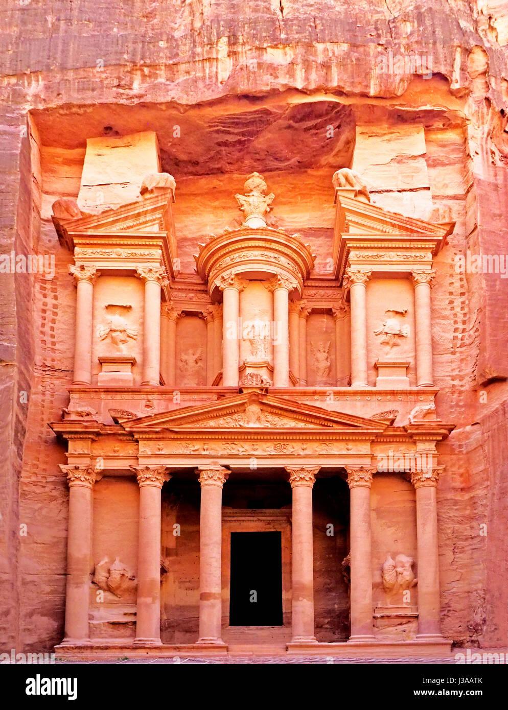 Facade of The Treasury in Petra. - Stock Image