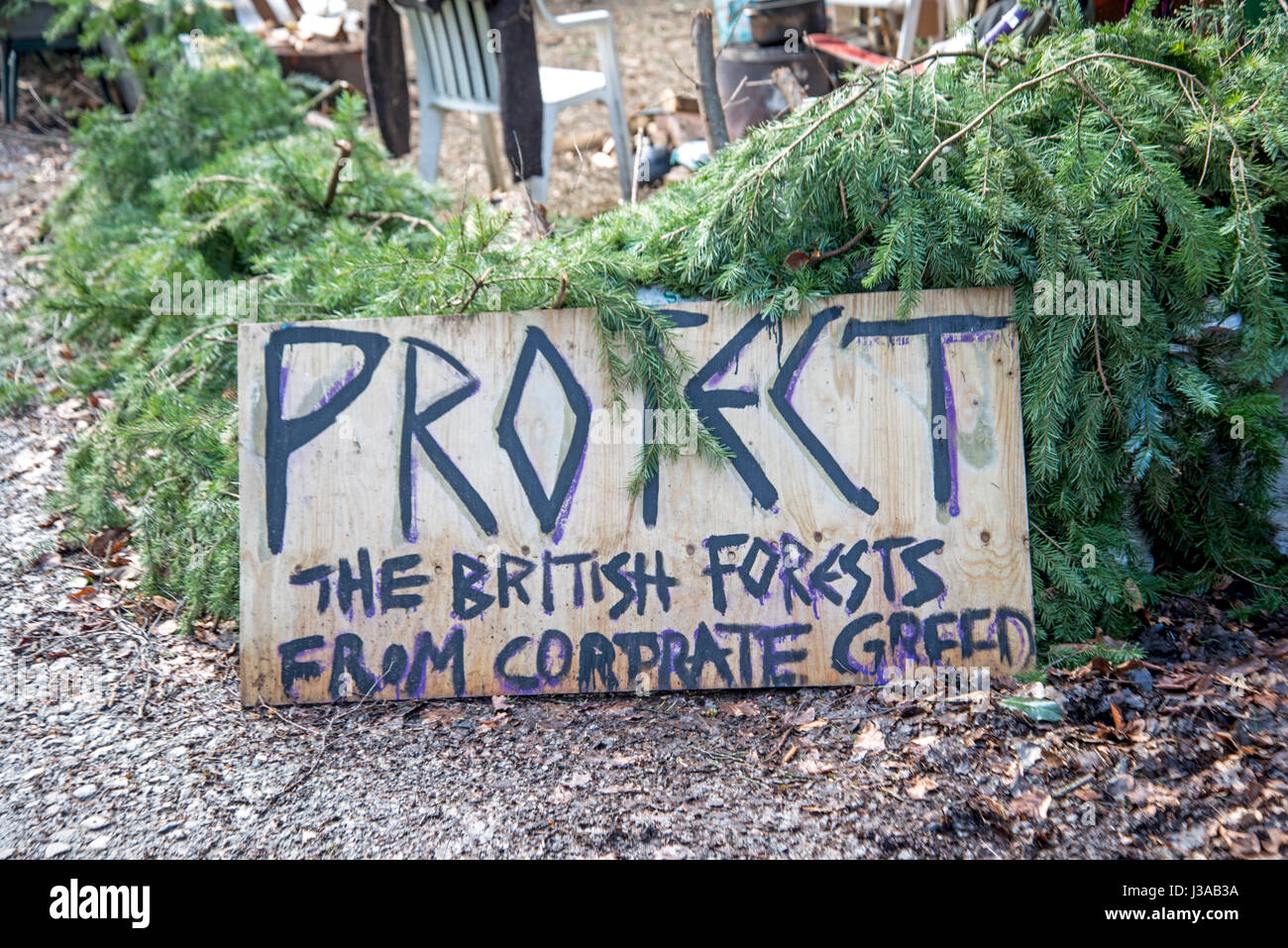 Oil Drilling and Fracking Protest Camp, Leith Hill, Surrey, UK. March, 2017 - Stock Image