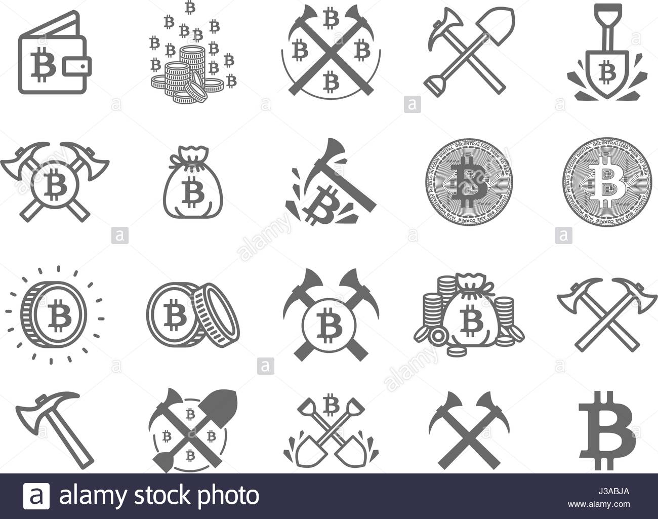 Miner Bitcoin Crypto Currency Symbol Icon Set Stock Vector Art
