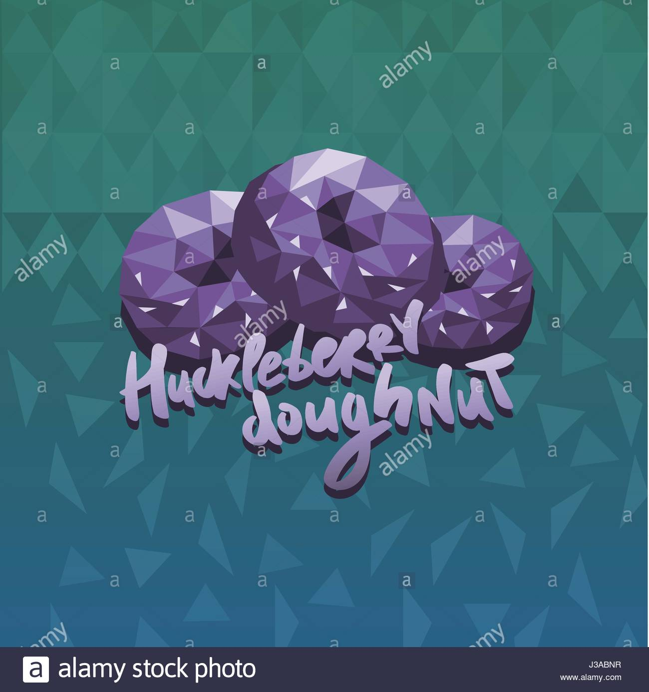 Vape Rampage huckleberry donuts flavor illustration in triangle abstract style - Stock Vector
