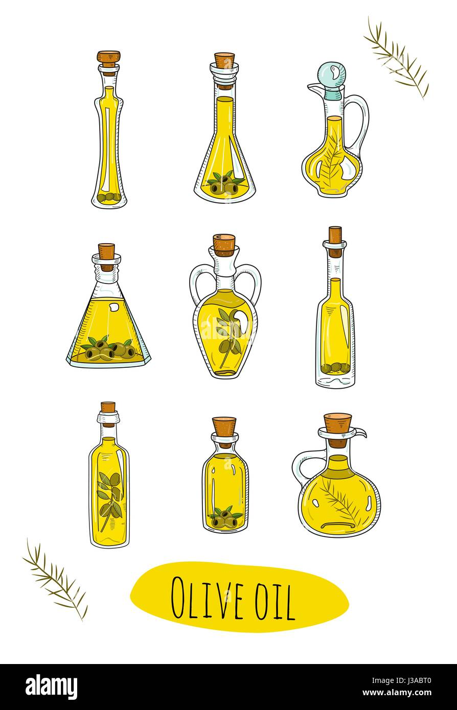 9 isolated doodle olive oils in cute bottles.  - Stock Vector