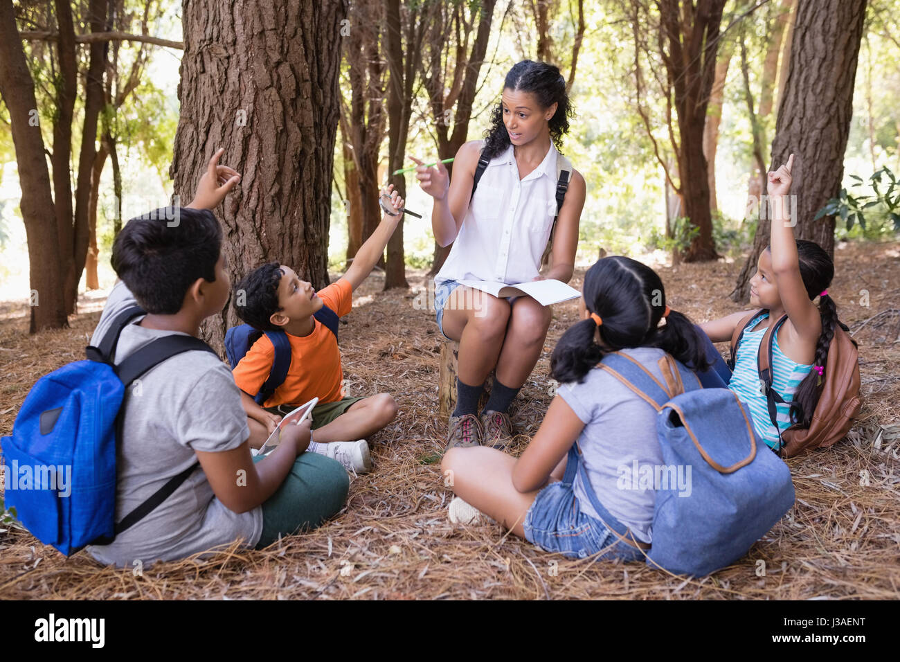 Teacher explaning students sitting in forest during summer field trip Stock Photo