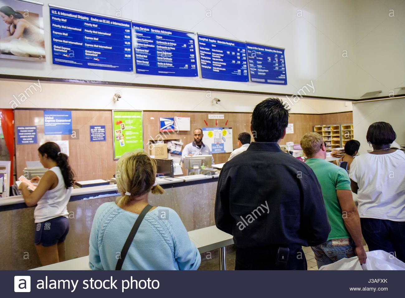 Miami Beach Florida Washington Avenue US Post Office Black man Stock ...