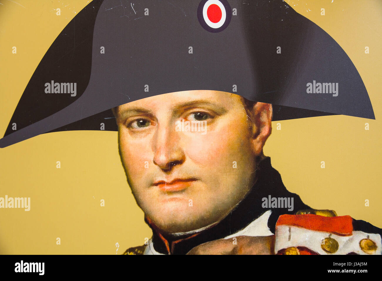 A micro-brewery adjacent Maison Bonaparte (Napoleon's ancestral home) features a poster of the self-proclaimed Emperor Stock Photo
